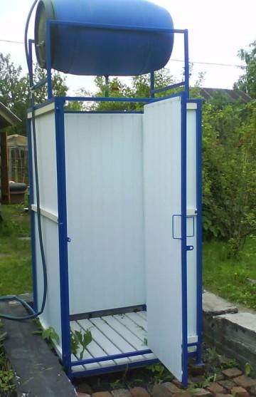 Как построить душ из профнастила своими руками