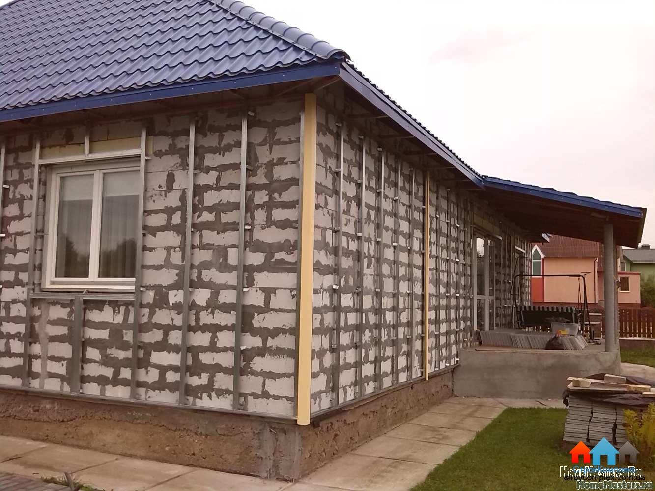 Обшить кирпичный дом профнастилом своими руками фото 500