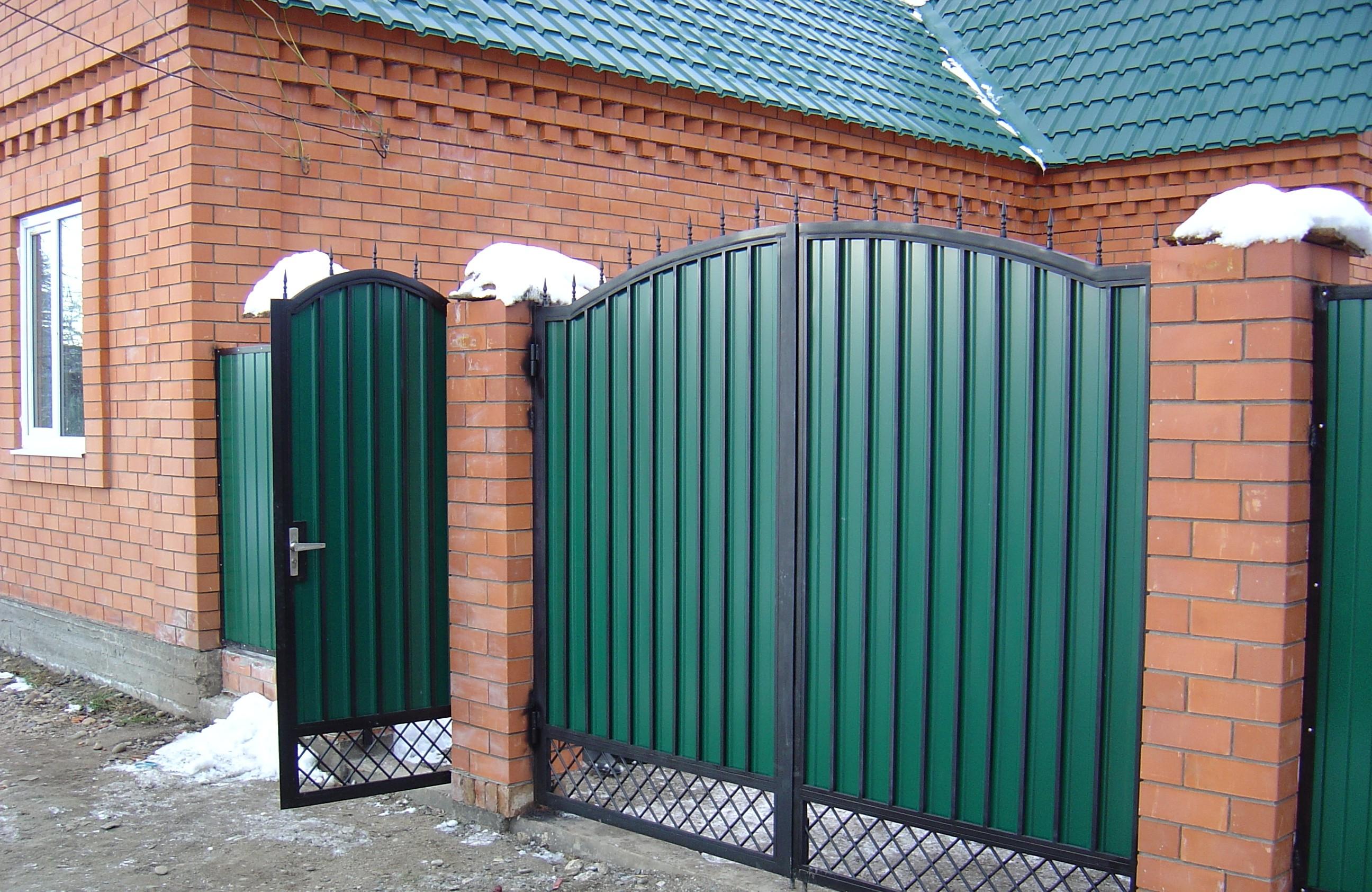 Ворота из профнастила с элементами ковки своими руками фото 112