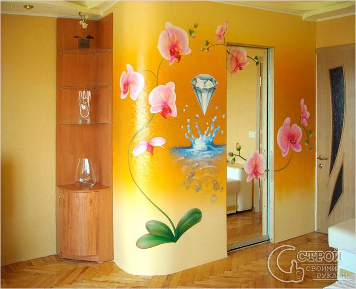 Роспись — цветы на стене