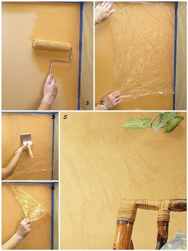 Декоративное окрашивание с помощью полиэтиленовой пленки