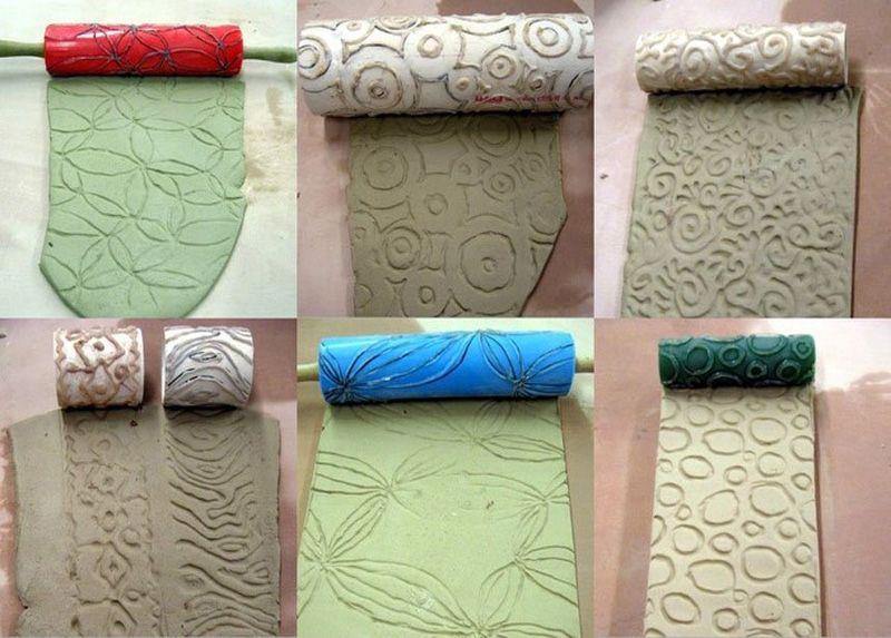 Нанесение рельефного рисунка с помощью штампов